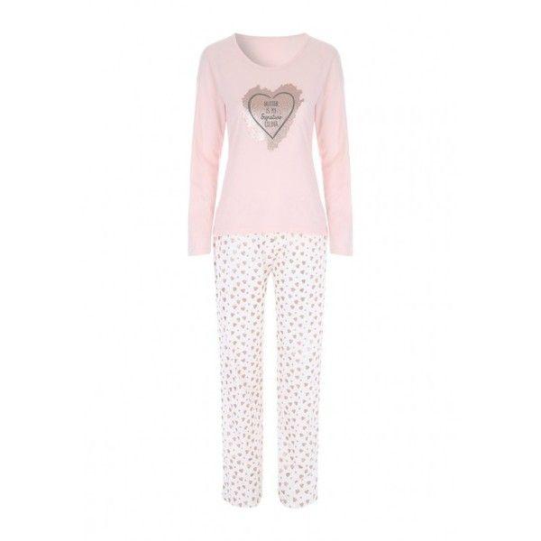 Womens Pink Slogan Pyjama Set (£12) ❤ liked on Polyvore featuring intimates, sleepwear, pajamas, long sleeve pajama set, pink pajama set, long sleeve sleepwear, pink sleepwear and long sleeve pajamas
