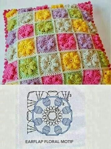 ❤~Crochet இڿڰۣ-ڰۣ— ❀ ✿   Multicolor Flower Pillow - Free Crochet Diagram - (demismanostejidos.blogspot)