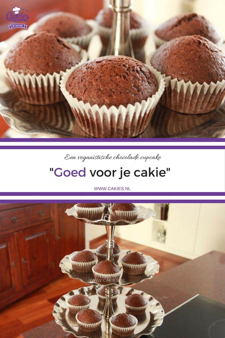 """""""Goed voor je cakie"""" - Een veganistische chocolade cupcake. Een nootachtige, aardse en chocoladeachtige lichte cupcake."""