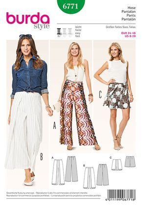 Misses Trousers and Culottes Burda Sewing Pattern No. 6771. Size 8-20.