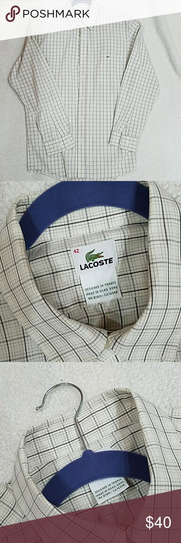☺SALE LACOSTE (like new) Men's Button Down Shirt AUTHENTIC Like New button down designer shirt. Beige with lighter and darker brown check pattern. Signature Lacoste buttons. Patch pocket with crocodile logo on left chest. IN EXCELLENT CONDITION. WORN ONLY ONCE.  Purchased at lacoste store. Size 42 which I believe  is about a Large. 100% high quality Cotton. Comes with 2 extra buttons attached on inside tag. Lacoste Shirts Casual Button Down Shirts