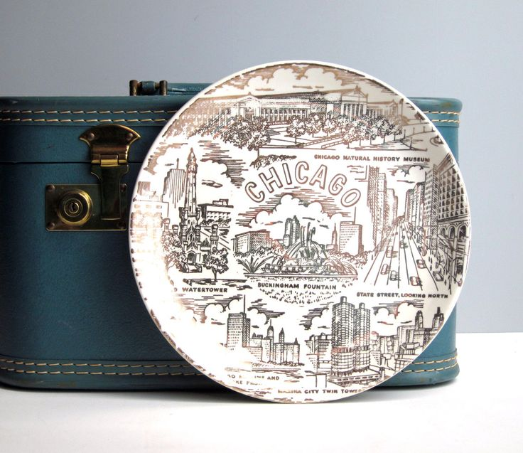 Vintage Chicago souvenir plate cream plate with by RecentHistory