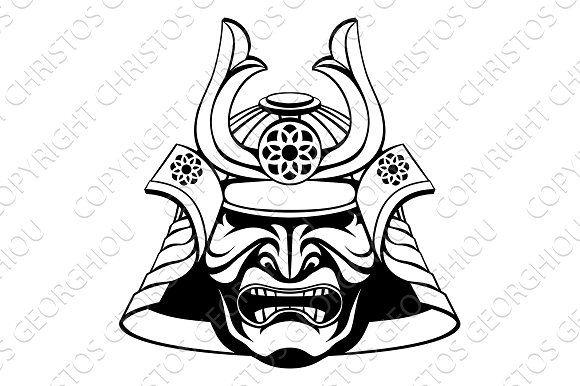 stylised samurai mask | samurai tattoo, japanese mask tattoo, samurai mask  tattoo  pinterest
