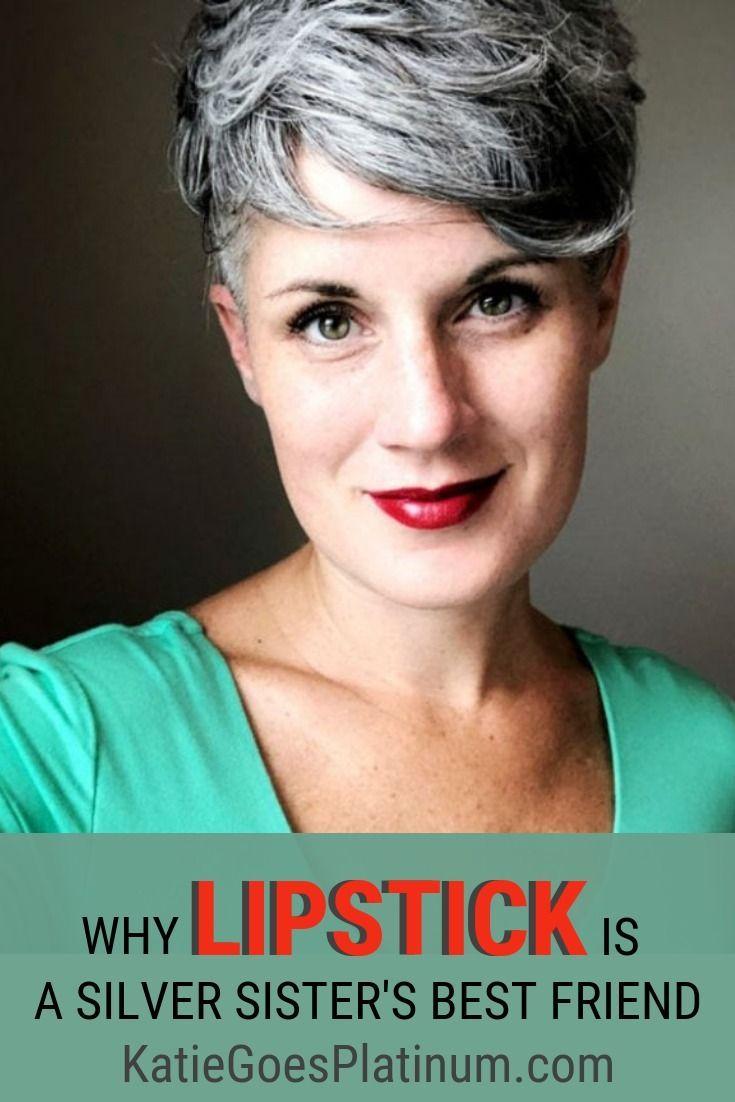 Lipstick Love Affair Grey Hair Short