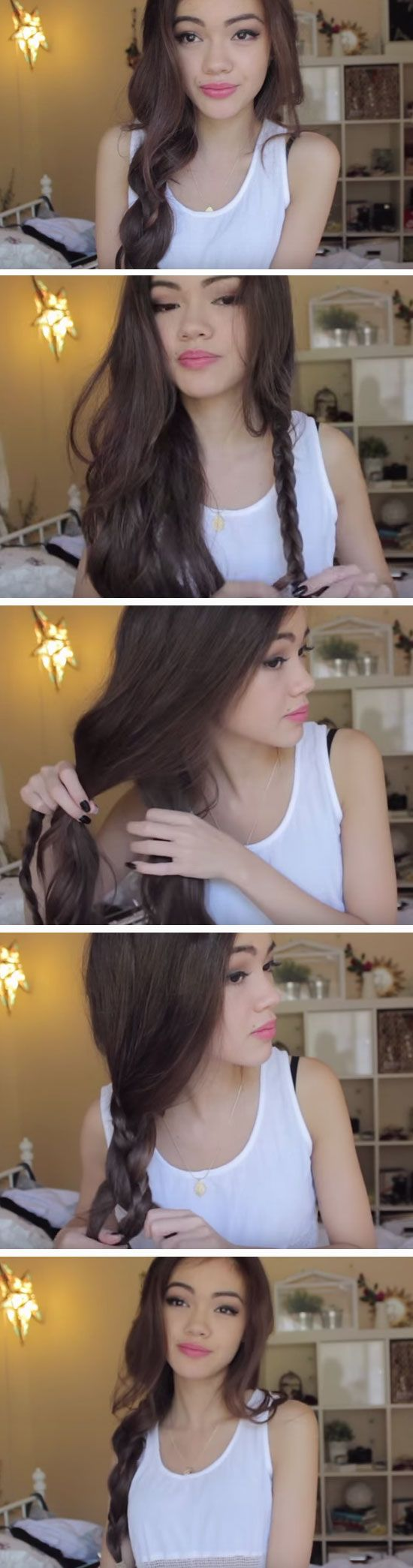 Side Braid wit Briad Detail   Cute Messy Hairstyles for Long Hair