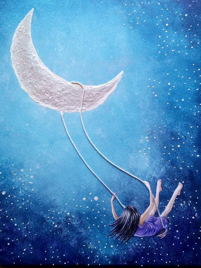 swinging on moon (60X40 cm canvas with acrylic and other stuff)