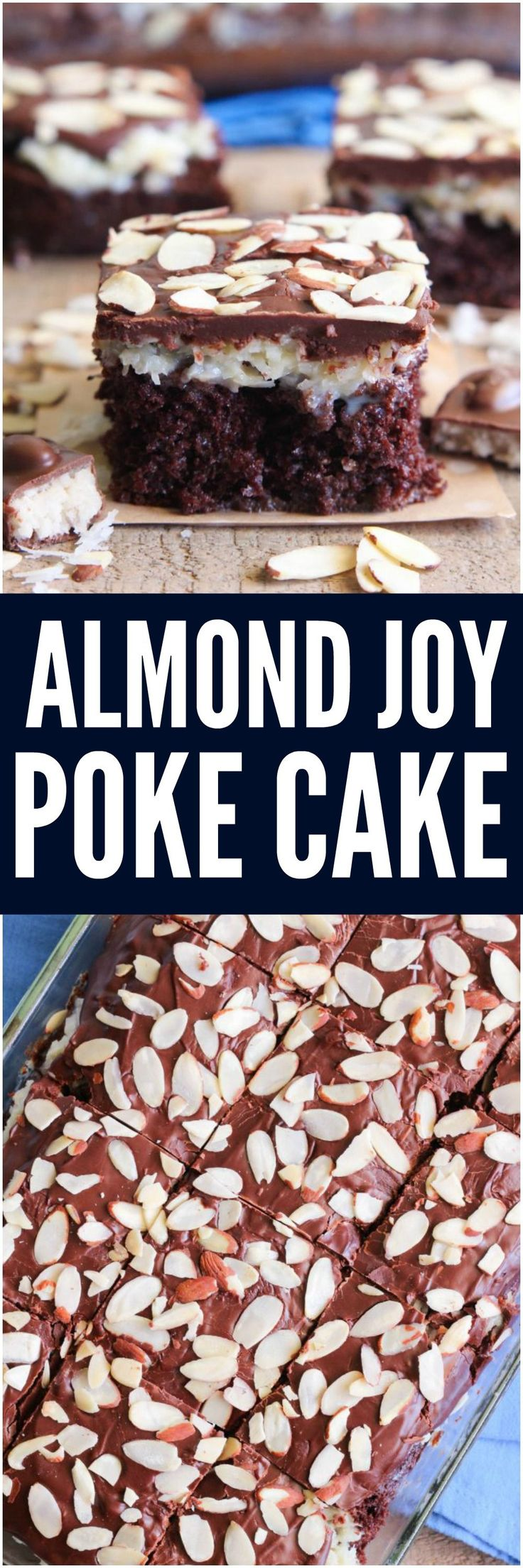 Almond Joy Poke Cake has all of the things that you love about an almond joy candy bar turned into a decadent cake! This cake is irresistible and will satisfy your chocolate craving!