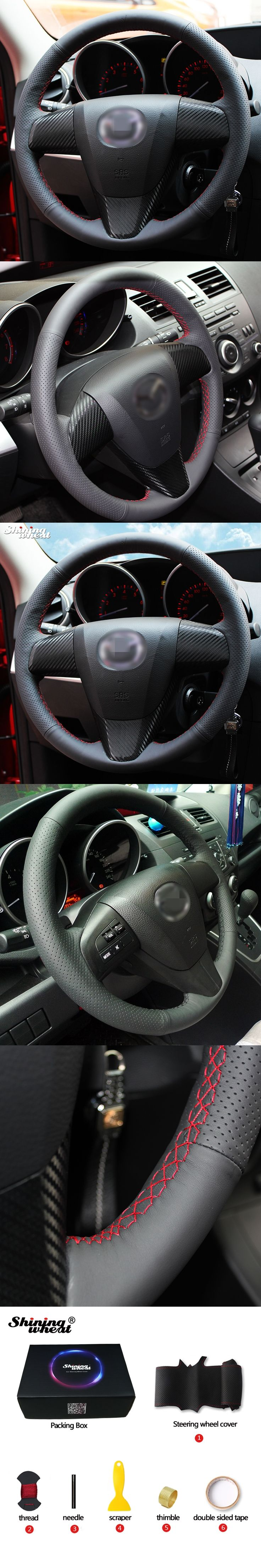 Hand-stitched Black Leather Steering Wheel Cover for 2011-2013 Mazda 3 Mazda CX7