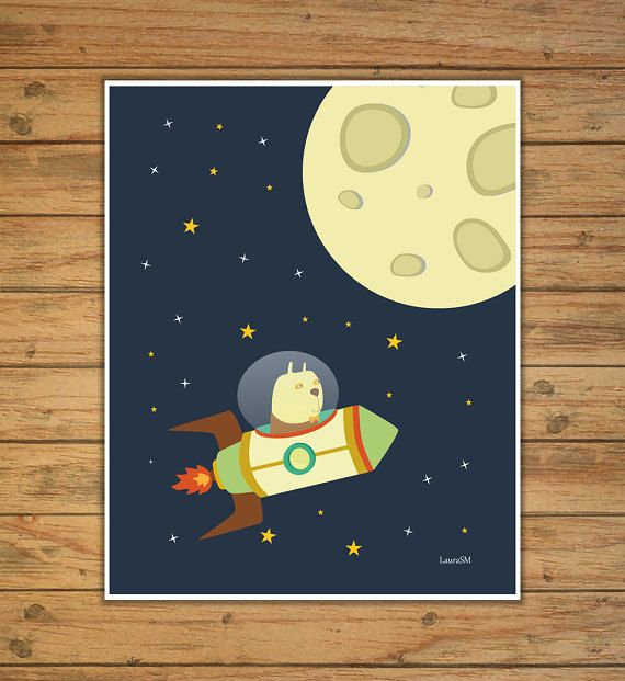lamina espacio lamina cohete cuadro cohete por Ilustracionymas