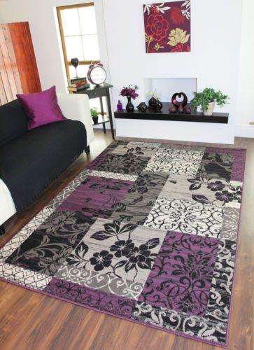 Details About Purple Black Light/Dark Grey Patchwork Rug Stain Resistant  Milan Lounge Mat