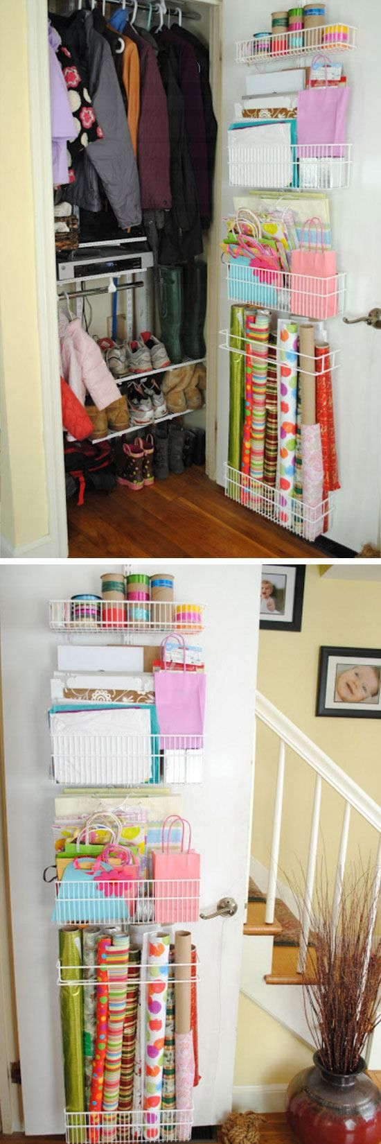 Closet + Wrapping Paper Organization   Easy Storage Ideas for Small Spaces   DIY Organization Ideas for the Home