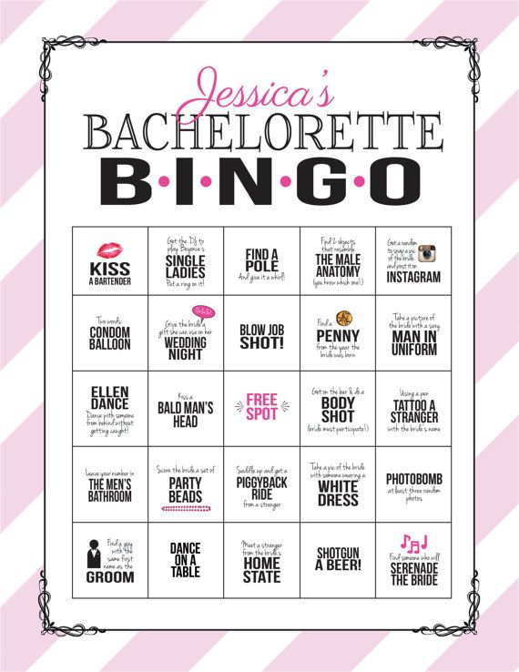 Bachelorette Party spel: Bingo durven blad door SweetBeeShoppe