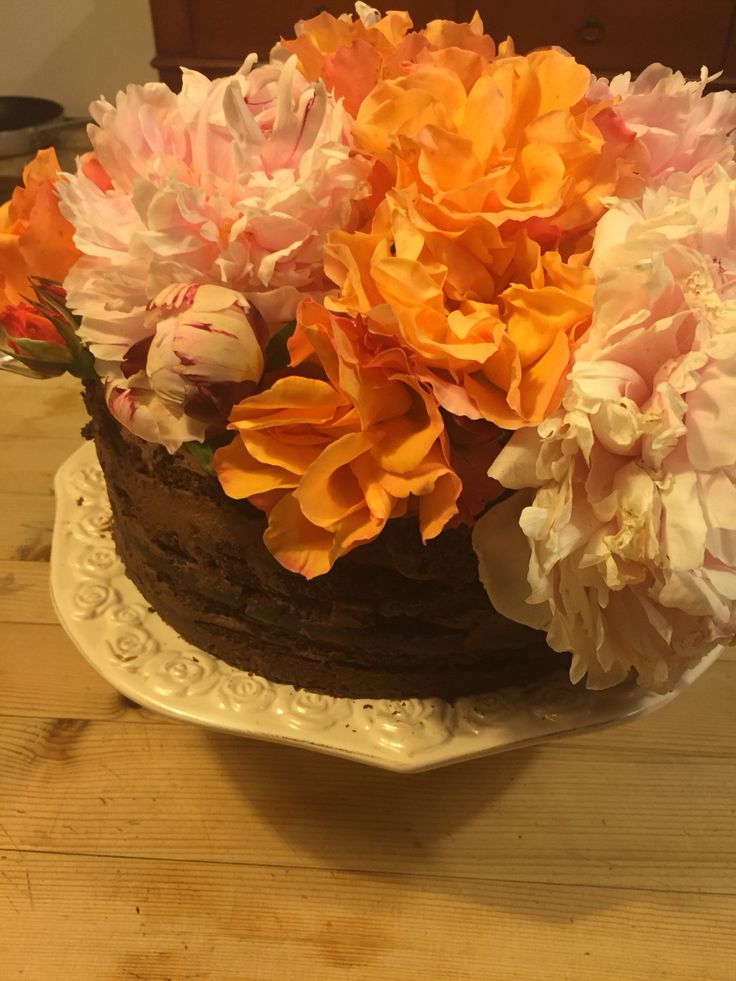 Naked floral chocolate cake