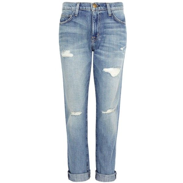 Current/Elliott Fling Distressed Boyfriend Jeans - Size W27 ($300) ❤ liked on Polyvore featuring jeans, faded blue jeans, mid-rise jeans, current elliott boyfriend jeans, torn boyfriend jeans and destroyed jeans