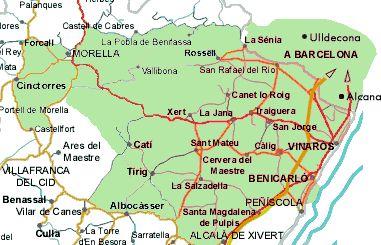 Mapa del maestrazgo de Castellón. Spain