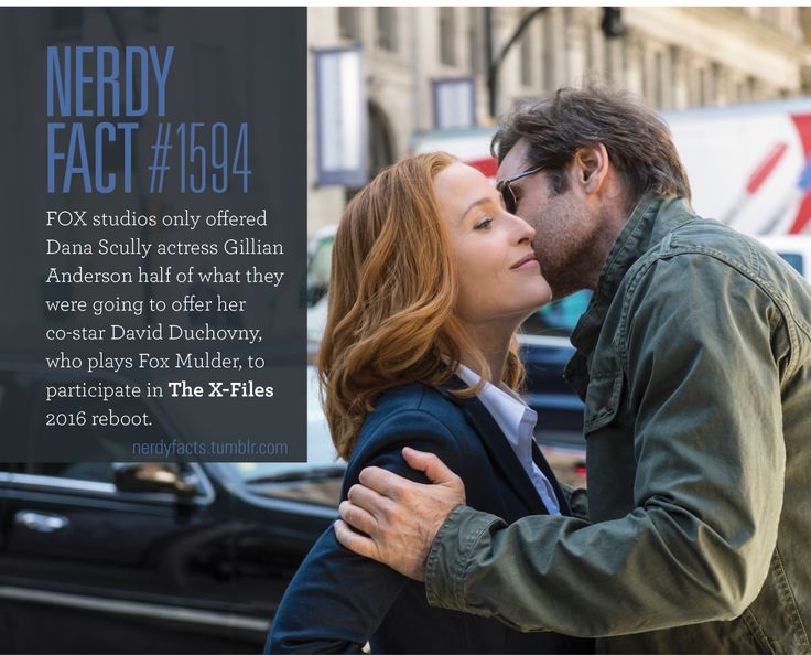 Nerdy Fact #1594: FOX studios only offered Dana Scully actress Gillian Anderson half of what they were going to offer her co-star David Duchovny, who plays Fox Mulder, to participate in The X-Files 2016 reboot. (Source.)