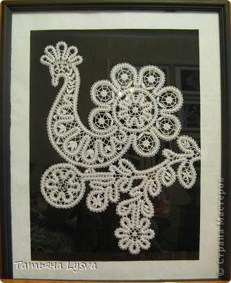 Картина панно рисунок Плетение на коклюшках Птицы Нитки фото 4