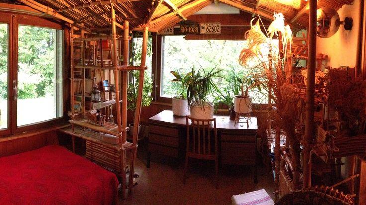 Blick aus dem Bambus-Zimmer zu den 2 Fenstern