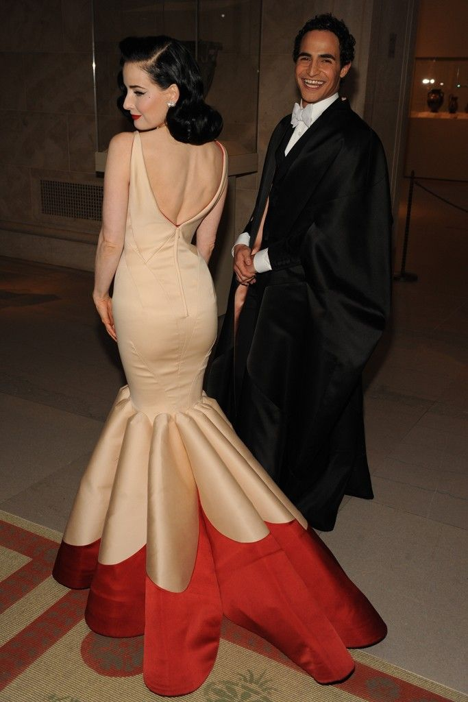 Dita Von Teese in Zac Posen, with the designer. [Photo by Steve Eichner]