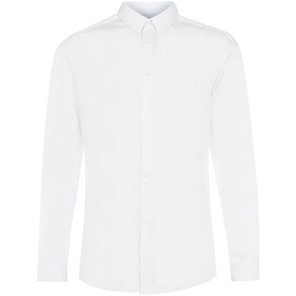 Topman Premium White Long Sleeve Smart Shirt ($52) ❤ liked on Polyvore featuring men's fashion, men's clothing, men's shirts, tops, white, mens longsleeve shirts, mens button front shirts, egyptian cotton mens shirts, white sox men's apparel and mens tailored shirts