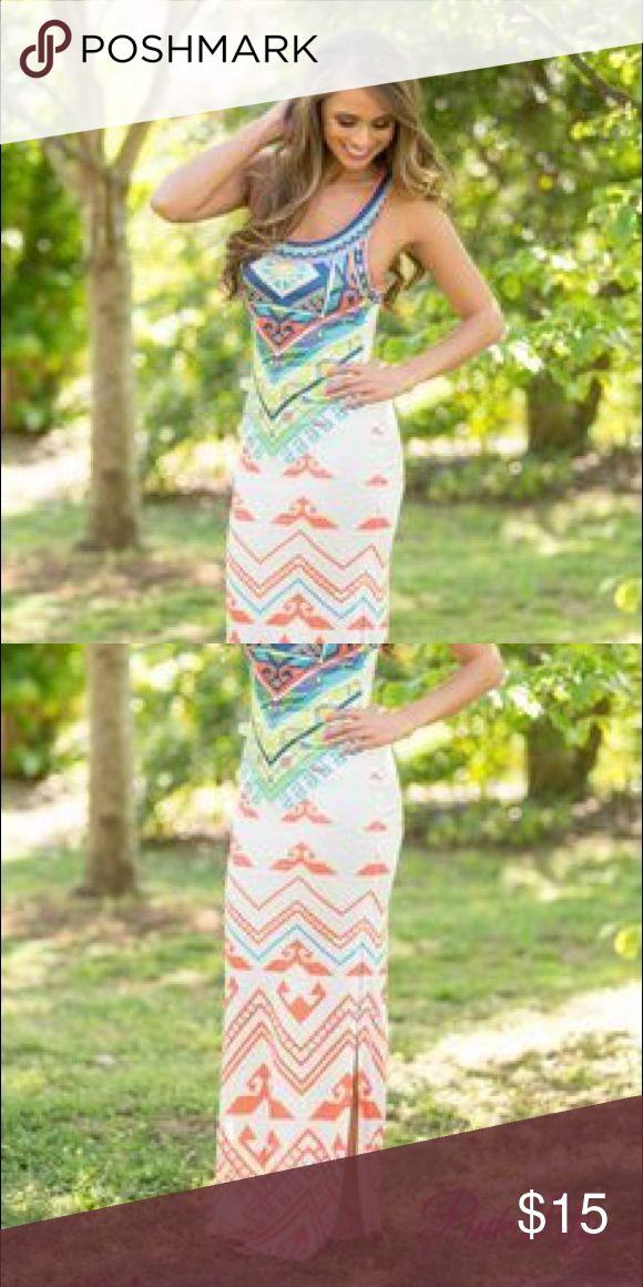 Aztec long summer dress Perfect summer dress. Size large. Fits like a medium Flying Tomato Dresses Maxi