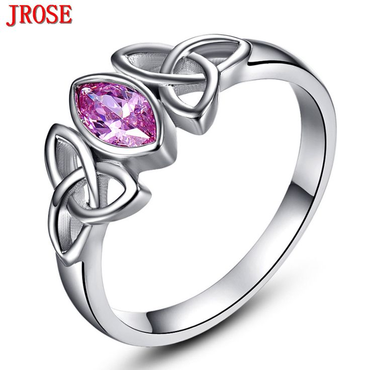Brand JROSE Engagement Marquise Cut Celtic Knot Design Pink CZ Jewelry 18KT White Gold Plated Ring For Women Size 6 7 8 9 10
