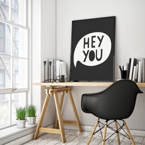 Hey You Chat Bubble. Print your own art for your home! This minimalist black and white art would be the perfect addition to any decor.