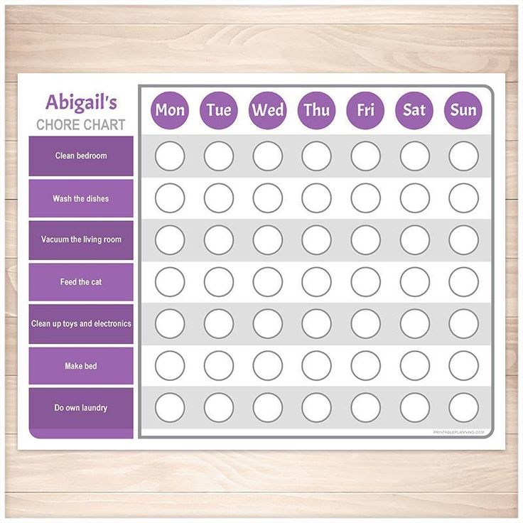 Personalized Chore Chart, Purple Weekly Page Printable