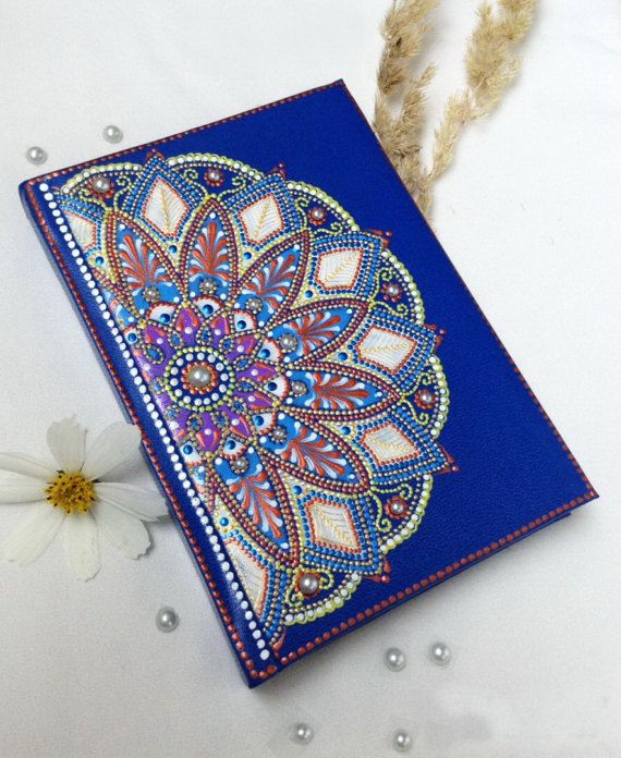 A6 Mandala leather lined diary Hand painted vegan by DotslandUA  || Books, Films & Music  Books  Blank Books  Journals & Notebooks  vegan leater  leather notebook  A6 notebook custom name diary  personalised diary  boss lady gift  mandala art  hand painted mandala  Yoga gift  indian style mandala gift  Mothers day  gift for woman