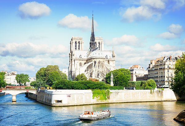 Notre Dame cathedral church over the Seine river at summer day, Paris, France by Anastasy Yarmolovich #Paris #AnastasyYarmolovichFineArtPhotography  #ArtForHome
