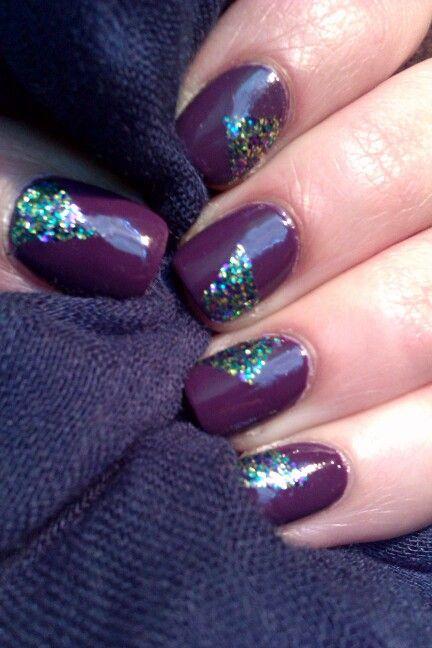 Purple nails / Fioletowe z trójkątami  #purple #nails #nailart #fiolet #brokat #zdobienie #paznokcie