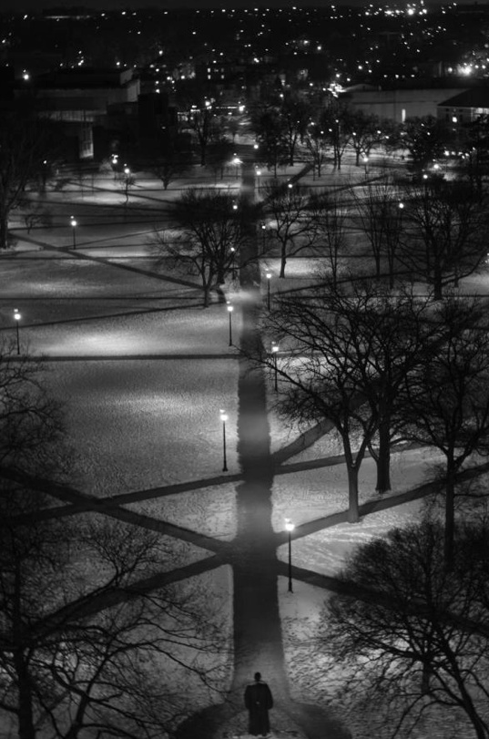 """The Long Walk at The Ohio State University.   Tradition has it that if you take the """"Long Walk"""" from the seal at the east end to the William Oxley Thompson statue on the west end holding hands with your loved one, you'll be together forever."""