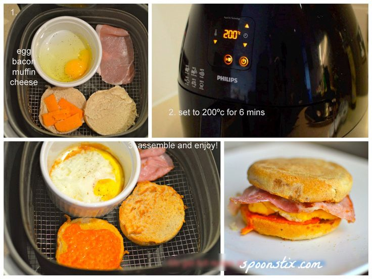 Make breakfast in 7 minutes with AirFryer! No preheating needed. You will only need the AirFryer and a soufflé dish.
