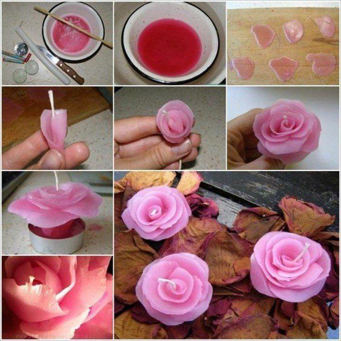 idée DIY pour fabriquer des bougies en forme de rose, suggestion très jolie, couleur rose