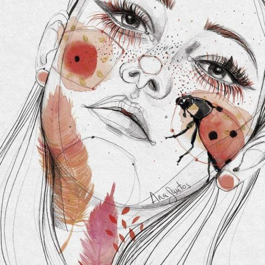 I like how they incorporate nature and bugs into their art. I also like how the eyelashes were colored too.