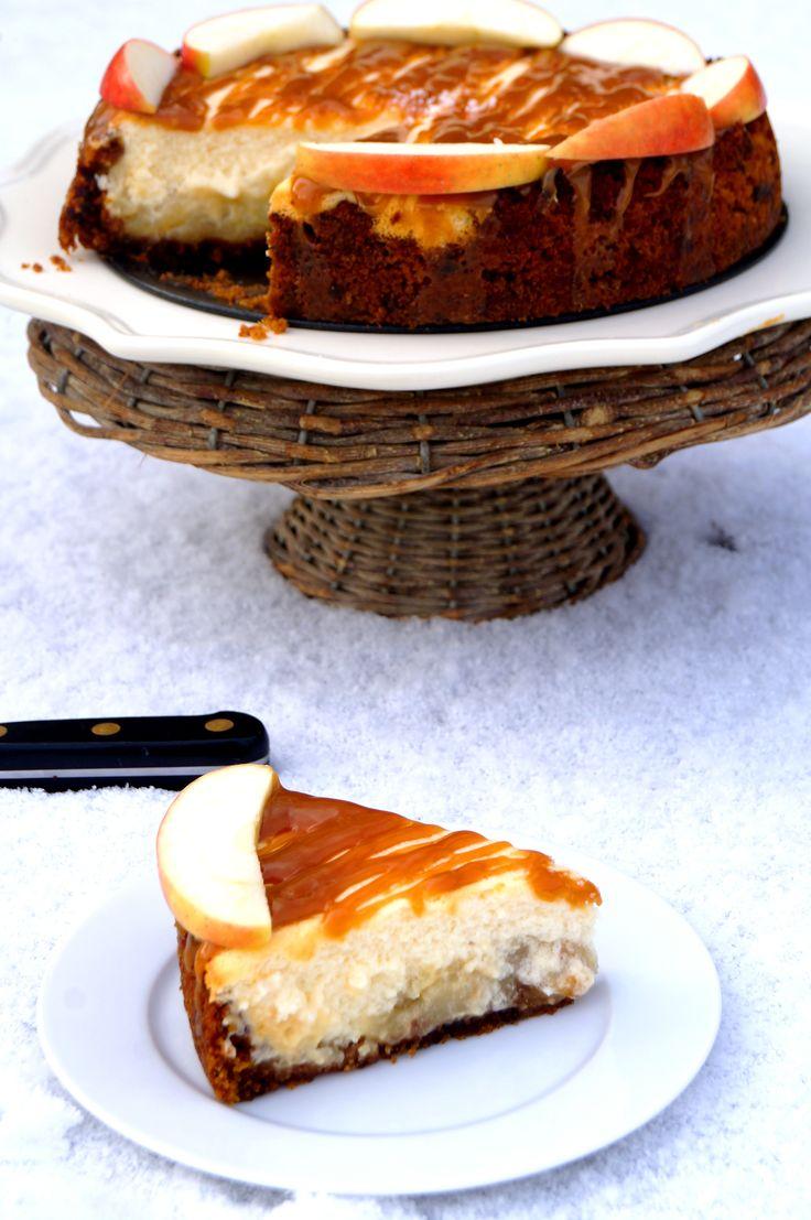 Appelkaastaart met bodem van peperkoek en bovenlaagje van gezouten karamel...