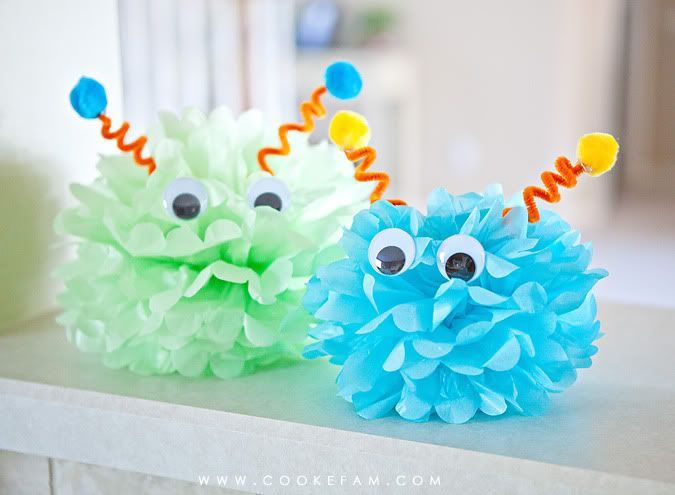Add wiggly eyes and pipe cleaner ears to your pom poms and you have instant monsters!