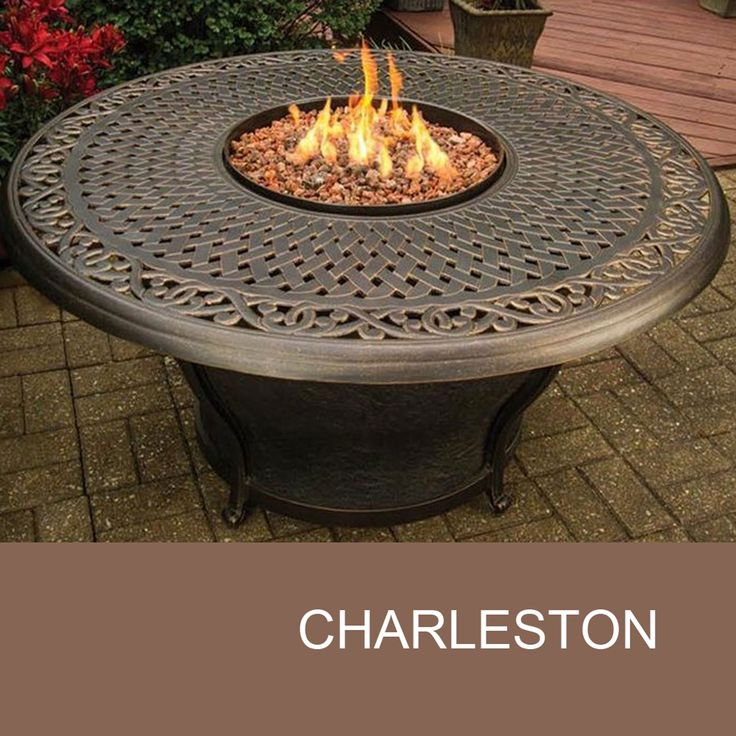 Agio Charleston   48 Inch Round Cast Top Gas Fire Pit Table   Design  Furnishings