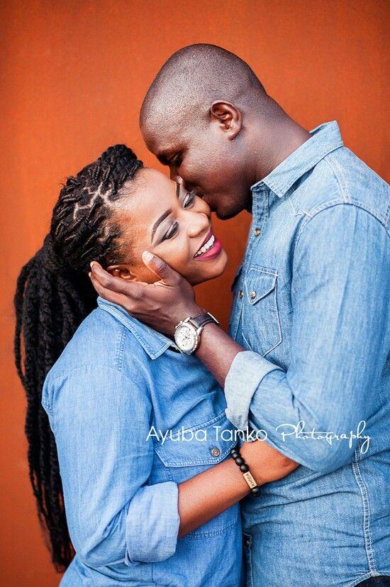 Engagement photo with beautiful ebony couple