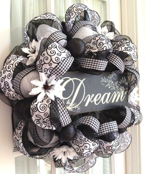 Image detail for -Elegant Black & White Deco Mesh Wreath by Southern Charm Wreaths.