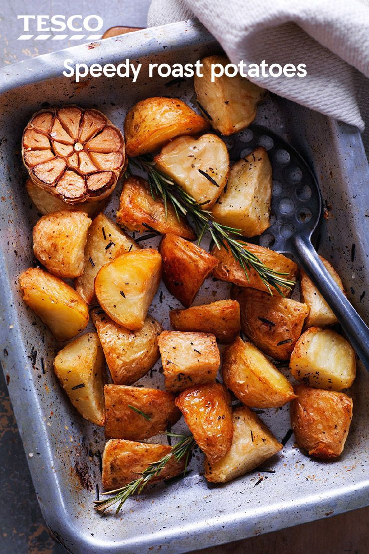 Make sure you have perfect roast potatoes for your Christmas dinner with this quick-and-easy speedy roast potatoes recipe. Ready in just 40 minutes, they're perfectly crisp on the outside and fluffy on the inside. | Tesco