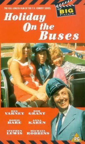 Holiday on the Buses (1973). Directed by Bryan Izzard.  With Reg Varney, Stephen Lewis, Doris Hare, Michael Robbins.