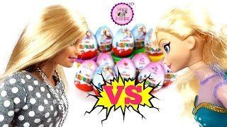Frozen VS. Barbie ☆ Huevos Kinder Sorpresa en Español con juguetes de Frozen y muñecas Barbie - YouTube