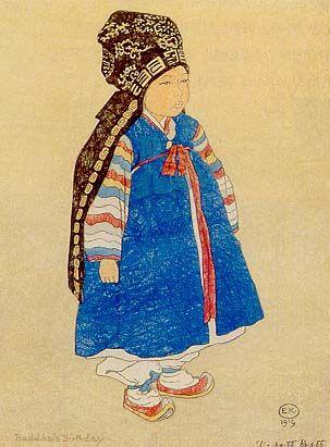 1919 woodblock print: Korean boy birthday by Elizabeth Keith (1877–1956)