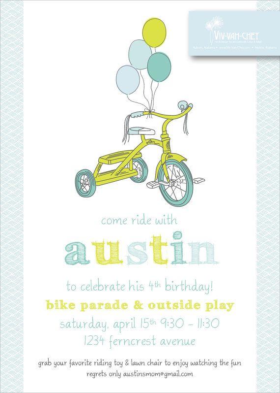 Precious Pastel Bicycle Birthday Party Invitation by VivVahChey, $1.65 Lucas