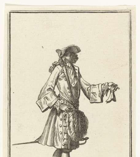 Man gekleed volgens de Franse mode van 1696, Bernard Picart, Jean Mariette, 1696 - Modieuze Mannenbenen-Collected Works of els verhaak - All Rijksstudio's - Rijksstudio - Rijksmuseum