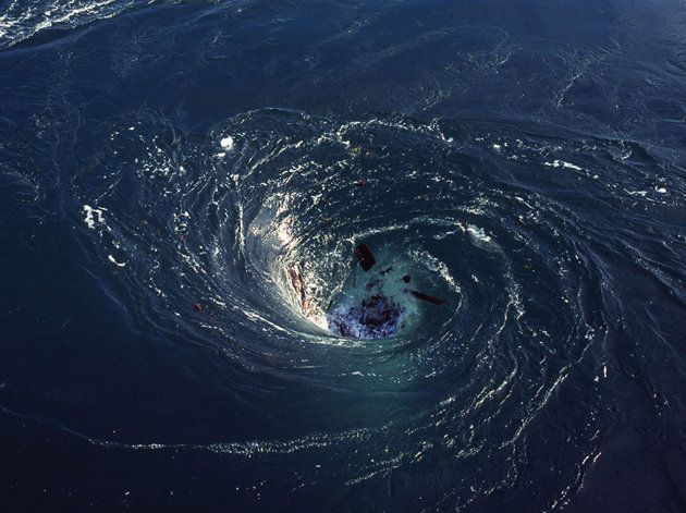 "Satellites glimpse ultra-powerful ""black-hole"" whirlpools in Atlantic - The whirlpools - never witnessed before - would suck down ships, debris and even living creatures. Satellites have shown two mysterious 'black-hole' whirlpools in the South Atlantic Ocean - ultra-powerful ""vortexes"" (vortices) which suck water down into the depths"