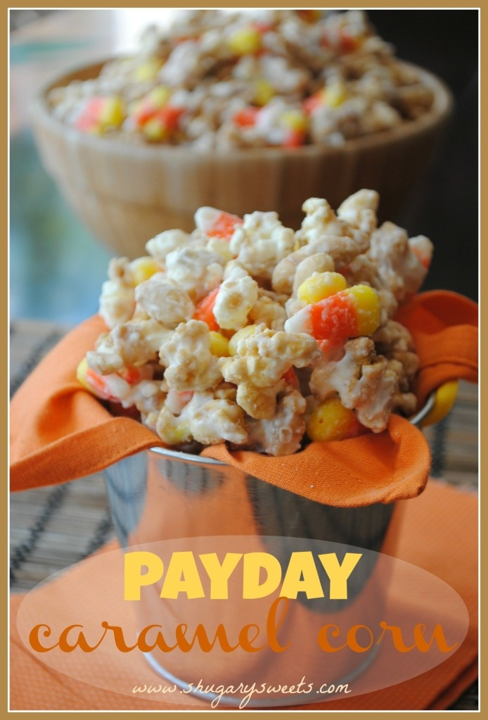 Payday Caramel Corn- homemade caramel corn covered in white chocolate and mixed with peanuts and candy corn! @shugarysweets