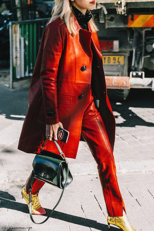 Le Fashion Blog 7 Red Coats For A Bolder Fall Red Leather Coat Via Collage Vintage