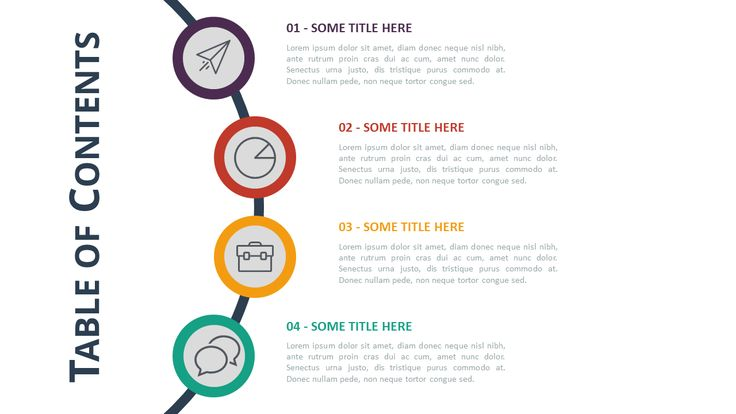 Free Table of Contents Agenda Template PowerPoint and Keynote - with Bubbles
